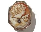 Antique 14K Cameo Habille Edwardian White Gold Shell & Diamond Brooch Pendant