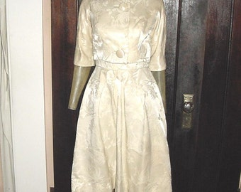 Vintage 50s Tapestry Satin 2 pc Cocktail Dress Sm Off White Jacket New Look