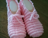 Crochet Pink Womens Slippers