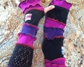 CUSTOM For DELORSE-Fingerless Gloves Arm Warmers Wrist Warmers  Recycle Sweater Art Hand Painted Applique Sewn Patchwork Striped Wrist Cover