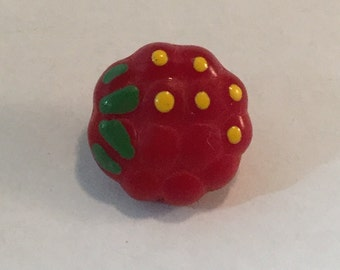 Vintage Glass  Button - Hand Painted Raspberry Fruit