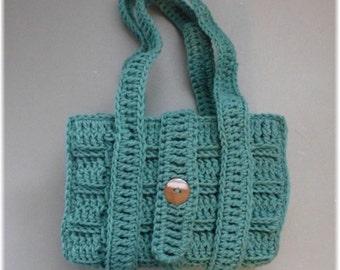 Bible  Book Cover Tote  Bag Adjustable Dark Spruce Green Crochet