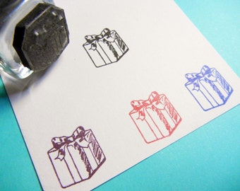 Tiny Birthday Present Rubber Stamp / Gift Box / Birthday Reminder Planner Rubber Stamp  - Handmade by BlossomStamps
