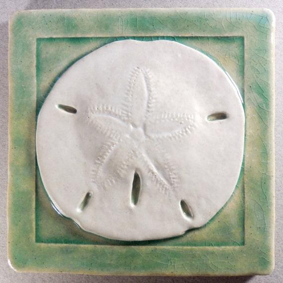 Sand Dollar Tile ~  4 x 4 inch Stoneware Ceramic ~ Sea Tile ~ Accent Tile ~ Light Green ~ White