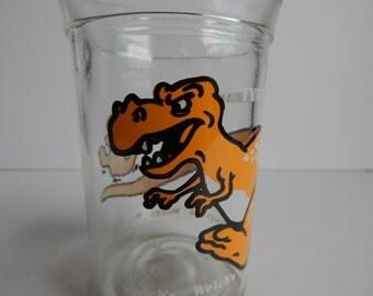 Tyrannosaurus Rex Dinosaur Child's Drinking Glass / Welch's Jelly Jar / Welch's Glass Jar