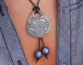 Koi Fish Jewelry, Fish Necklace, Handmade Fish Jewelry, Koi Fish Pond Ripples, Nautical Leather and Pearl Necklace, Sterling Silver Fish Koi