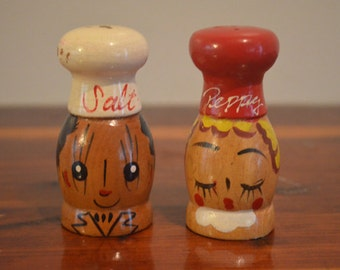 "Vintage Wood ""salt And Peppy"" Salt And Pepper Shakers - Made In Japan"