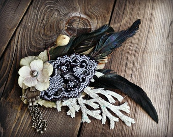 Black and Cream Shimmerling - ATS Fae or Tribal Fusion Belly Dance Hair Clip