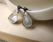 On SALE / CIJ Sale / White Frost, Vintage Glass Jewel Earrings, Winter Storm, Ice, Old Hollywood, Estate Style Jewelry