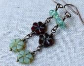 On SALE / CIJ Sale / Casual Bohemian Brass Earrings / Flower Child Dangle Earrings / Ruby Red and Aqua Blue / Rustic Boho Chic Jewelry