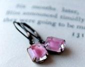 On SALE / CIJ Sale / Pink Givre Petites, Estate Style Earrings, Dangle Earrings, Pink, Vintage Jewel Earrings, Drop Earrings