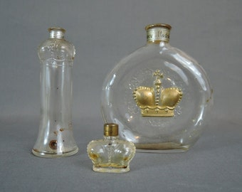 3  Perfume Bottles by Prince Matchabelli, Vintage 1930s 1940s, Miniature Crown Abano & Ave Maria