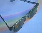 Vintage 40s Sunglasses Blue Glitter Confetti NOS