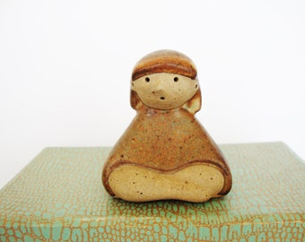 vintage yoga pottery girl figurine cross legged sukhasana easy pose
