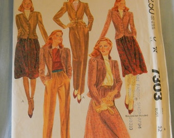 Vintage McCall's Jacket, Skirt and Pants Pattern #7303, Size 7 Uncut