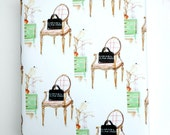 Gift Wrapping, Wrapping Paper, French Chair, Sketch of Interior, Interior Design, Mid Century Modern, Mint, Peach