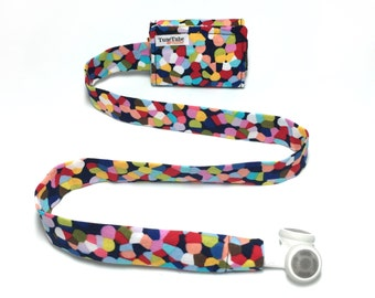 Cynthia Rowley fabric TuneTube.  Earbud cord organizer for iPhone or iPod.  Cord keeper.  Earbud holder.  Earbud case.