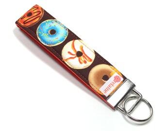 Keychain wristlet with donuts.  Donut keychain.  Keyfob.  Key holder wristlet.  Key bracelet.