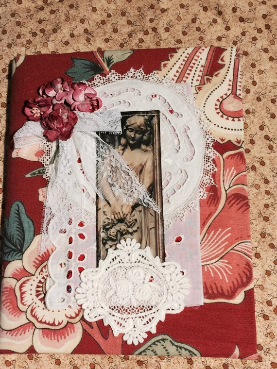 Red Roses Angel, Prayer Journal, Gratitude Journal, Mixed Media Lace, Covered Journal, Diary, Notebook, Reusable, Covered Composition Book