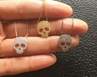 SALE, Pave Skull Necklace, Sugar Skull Necklace, Calavera Necklace, Calavera Jewelry, Skull Jewelry, Skull Necklace