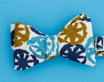 mod bow tie in turquoise, navy, & olive // self tie bow tie // unisex bow tie