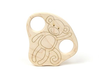 Monkey Wood Toy Teether
