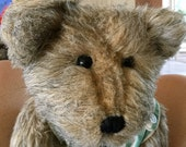 Vintage Boyd's Bear Charlie, 1996, 15 inches tall Green Stripe Overalls, Excellant Condition