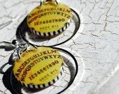 Ouija board hoop earrings , resin earrings, goth , halloween earrings, gifts under 20