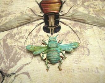 Bee Brooch, Bee Pin, Woodland Brooch, Steampunk Brooch, Clockworks Brooch, Verdigris Bee, Insect Brooch, Bee, Bumble Bee, Exclusive Design