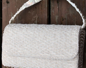 Vintage Wedding Purse Bag - Hand Made Ivory Seed Beaded Sequined - 1960s