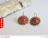 Sale -Valentine All Red Jewelries Vintage Inspired Silver Coral Earrings,Red Coral Earrings,holiday jewelry, Gift for Her,Red Dangle Earring