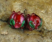 Glass Lampwork Beads, Earring Beads, Red Pink Rose Buds SRA #733 by CC Design