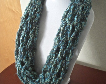 Chunky Scarf hand knit Snood - Arm Knit - Teal Neck warmer