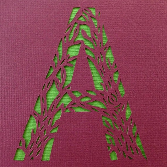 Art Wall Jr Green Jacket : Burgundy and green branch silhouette letter a handmade