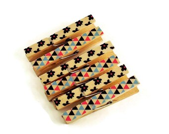 Altered Clothespin  Clips  Decorative  Wooden Clothespins in Imagine