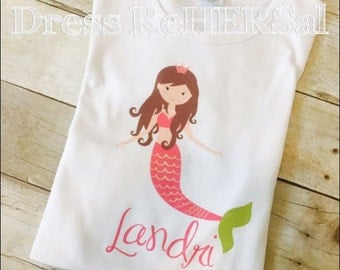 Mermaid shirt personalized with name