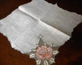 VINTAGE Netted Lace Rose Flower & Scallop Edge Handkerchief