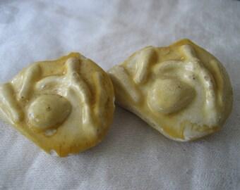 Set of 2 Handmde Ceramic Yellow Tint BUTTONS
