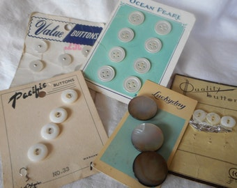 Lot Sets of VINTAGE Shell & Plastic BUTTONS