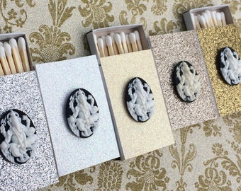 10 Matchbox Wedding Favors - White Cream Silver Gold Ganesha Ganesh Shiva