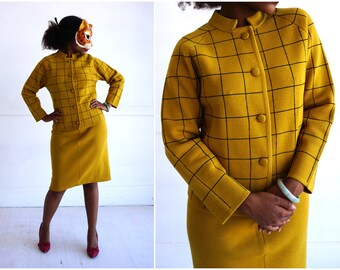 Vintage 60's Wool Mustard and Black Windowpane Skirt and Sweater Suit Two Piece Set by Herald | Small/Medium