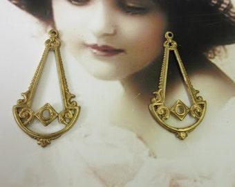 Raw Brass Ornamental Dangles 575RAW x2