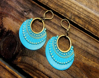 Cresent Moon, Western Cowgirl Southwestern Boho Hand Painted Teal Earrings- Boho Earrings- Bohemian Teal Earrings- Teal Earrings- Distressed