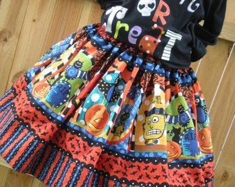 ON SALE Ready to Ship Custom Boutique Halloween Twirl Skirt Girl 3 or 4 or  5 or  6 or 7 or  8  it's   16 inches long  RTS