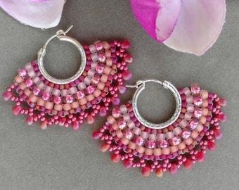 Coral Beadwork Fan Earrings. Beadwork Hoops. Fringe Hoop Earrings. Beaded Hoop Fan Earrings. Beadwoven Hoops. Coral Pink. BERRY