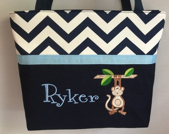 Navy CHEVRON  ...Just Hang'n Around .... Appliqued MONKEY Diaper Bag  ...  Blue  Accents ... Personalized FREE