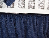 Blue Crib Skirt, Navy Blue Dust Ruffle - Navy Blue Crib Skirt - Blue Baby Bedding Ruffled Crib Skirt - Long Crib Skirt Ruffle Crib Skirt