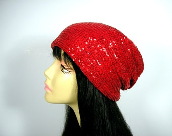 Red Sequined Slouch Hat for Hair Loss Red Sequined Slouchy Beanie Glamorous Hats for Hair Loss Chic Chemo Hats Sequin Chemo Caps Glam Beanie