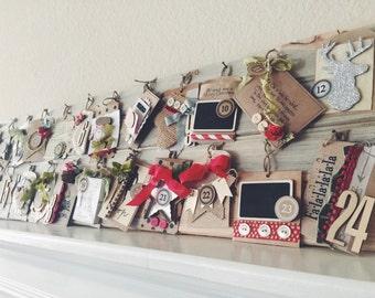 Peppermint Wood Advent Calendar Reusable