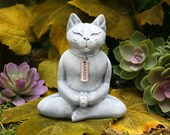 Buddha Cat - Meditating Zen Cat Statue with Namaste Necklace - Concrete Garden Art